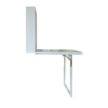 Nhìn ngang bàn gập treo tường có chân chống màu trắng