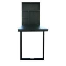Bàn gập treo tường có chân chống màu đen gỗ tự nhiên