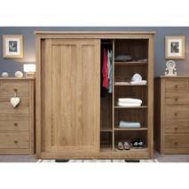Tủ quần áo cửa lùa 2 khoang IBSD2O gỗ sồi 2