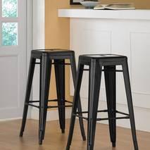 Ghế bar Tolix chân cao màu đen decor 1