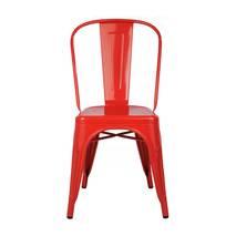 Ghế tựa Tolix lưng cao màu đỏ 4