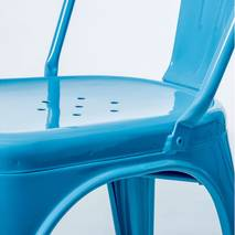 Ghế tựa Tolix lưng cao màu xanh 3