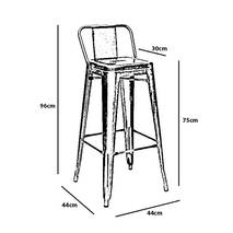 Kích thước ghế bar Tolix lưng thấp màu đen