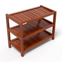 Kệ dép 3 tầng IB363 gỗ cao su 63x30x50 cm màu cánh gián 2