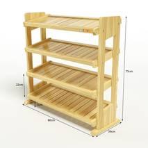 Kệ dép 4 tầng IB480 gỗ cao su 80x30x68 cm 3