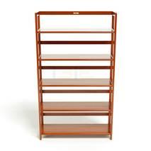 Kệ sách 5 tầng HB590 gỗ cao su màu cánh gián ngang