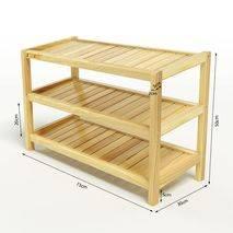 Kệ dép 3 tầng IB373 gỗ cao su 73x30x50 cm 2