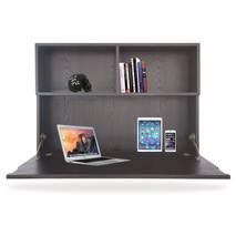Mặt bàn gập treo tường liền giá sách màu đen