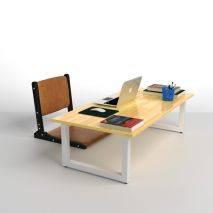 Bộ bàn bệt Rec-B chân trắng gấp gọn