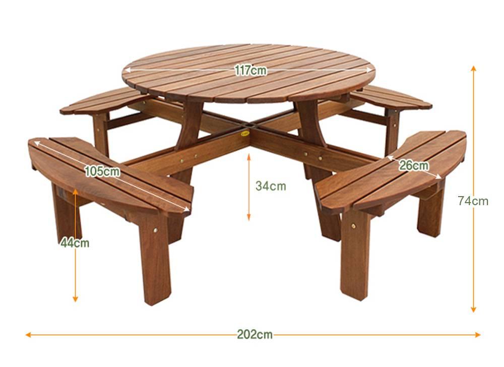 Kích thước bộ bàn tròn Bengkulu 8 chỗ