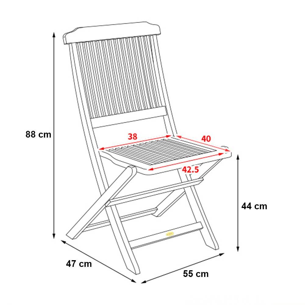 Kích thước ghế xếp Mini không tay - nan đứng