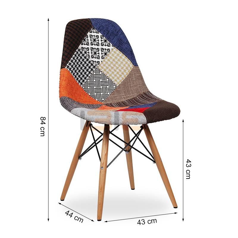 Kích thước ghế Eames bọc thổ cẩm chân gỗ