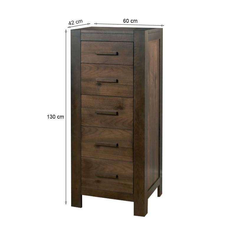 kích thước tủ 5 ngăn kéo đứng Lyon gỗ óc chó