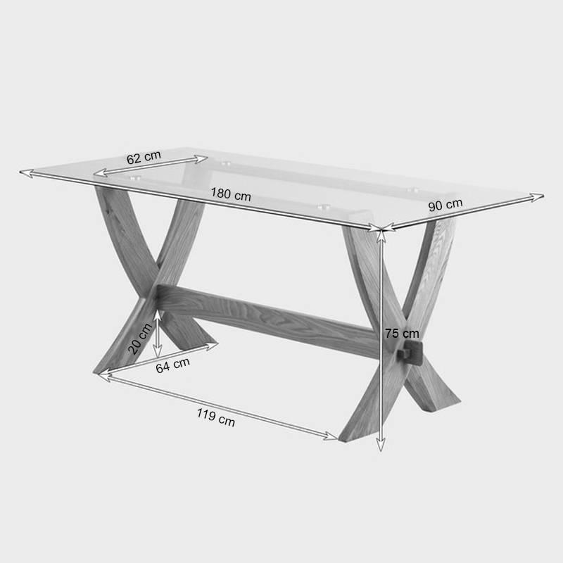 Kích thước bàn ăn mặt kính Rivermead gỗ sồi
