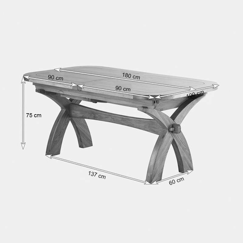 Kích thước bàn ăn mở rộng Rivermead gỗ sồi