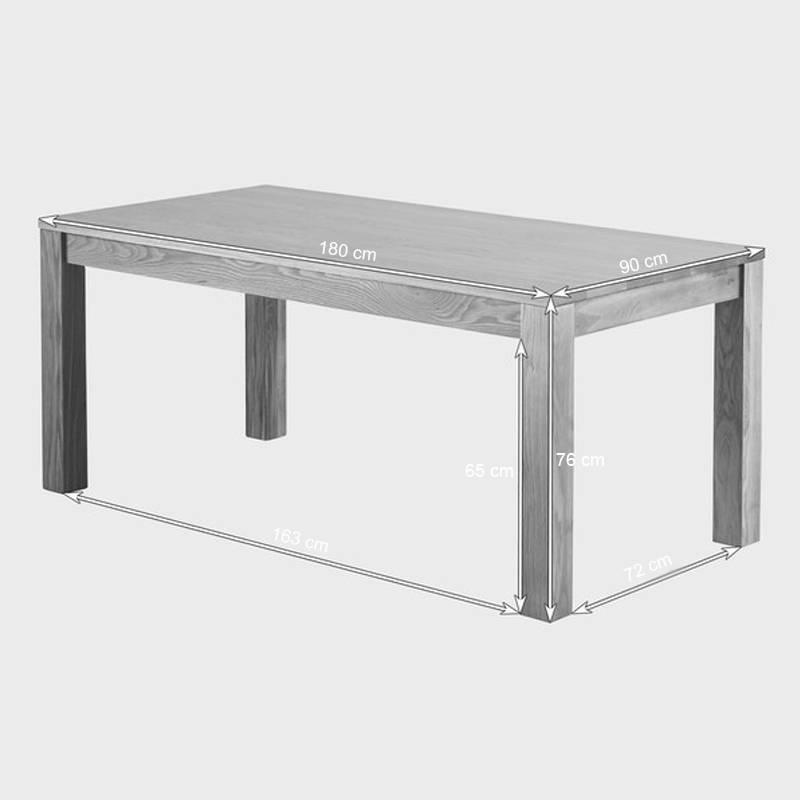 Kích thước bộ bàn ăn Oakdale gỗ sồi 6 ghế da
