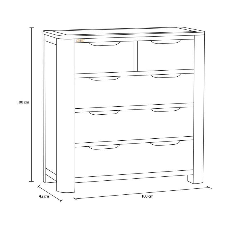 Kích thước tủ ngăn kéo Romsey 2+3 gỗ sồi