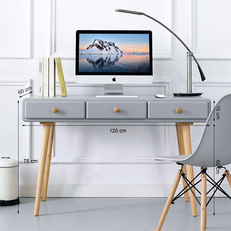 Kích thước bàn làm việc 3 ngăn kéo Rora - Grey gỗ tự nhiên