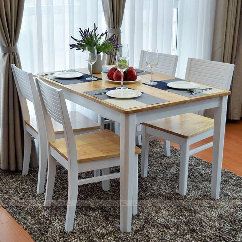 Bộ bàn ghế Gumi màu trắng