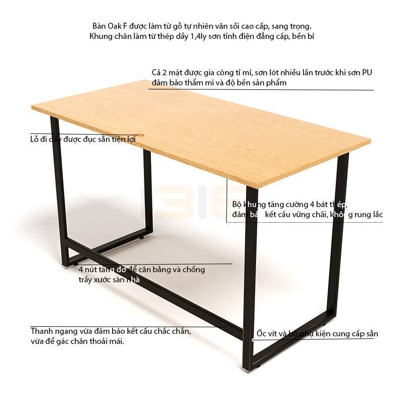 Kích thước bàn Oak-F đen