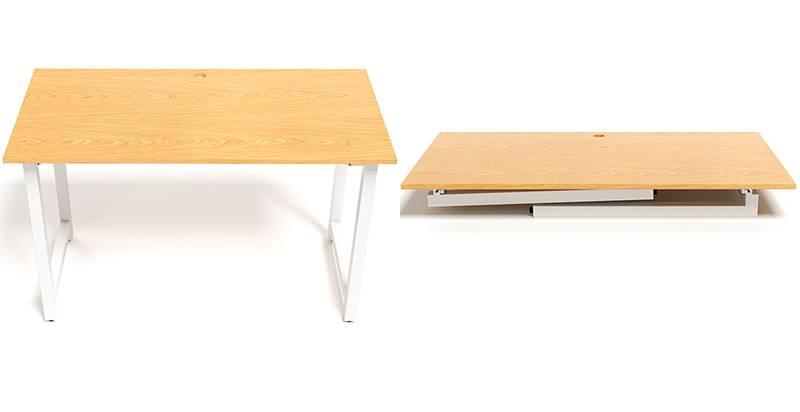 Minh họa bàn Oak T chân gập trắng
