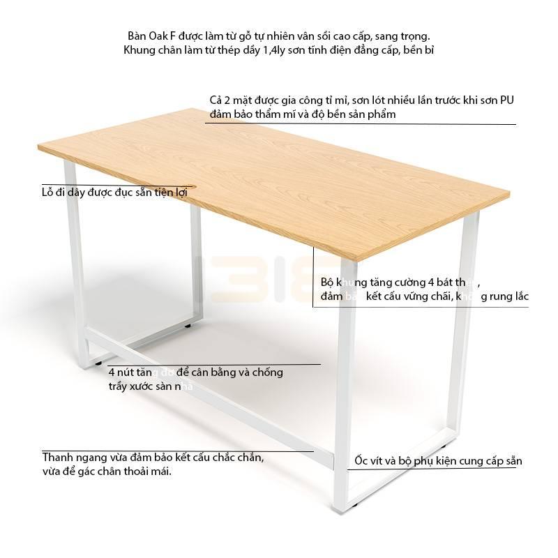 Mô tả bàn Oak-F trắng