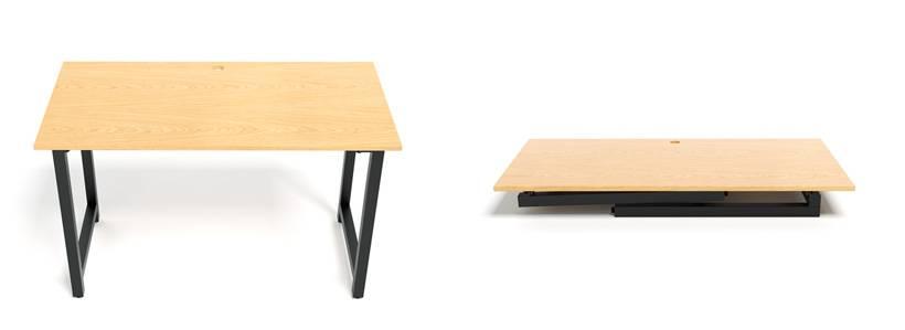 Minh họa bàn Oak-T đen gập