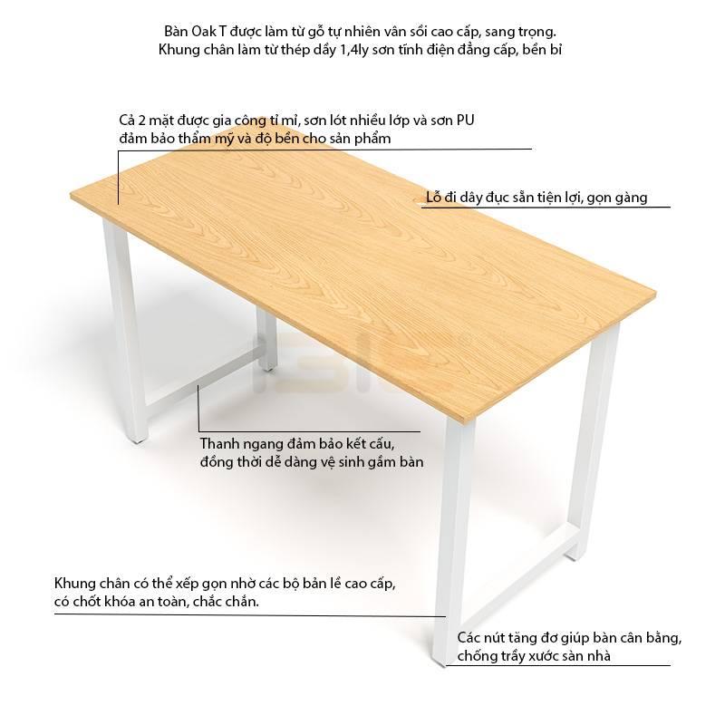 Mô tả bàn Oak-T chân trắng
