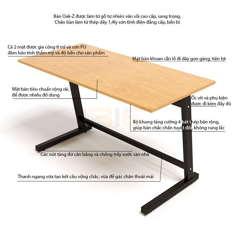 Mô tả bàn Oak-Z
