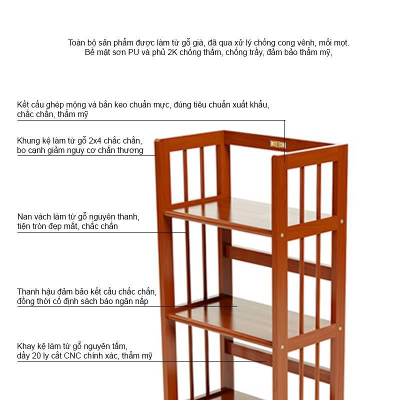 Mô tả kệ sách gỗ cao su màu tự nhiên