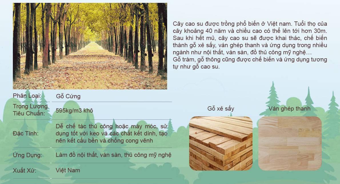 Chất liệu gỗ cao su, tràm, thông