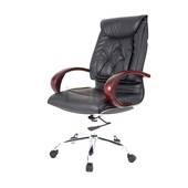 Hình nghiêng ghế Trưởng phòng IB201 khung đúc tay gỗ chân thép mạ cao cấp màu đen