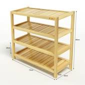 Kệ dép 4 tầng IB473 gỗ cao su màu tự nhiên