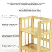Kệ sách 3 tầng HB363 gỗ cao su màu tự nhiên 4