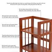 Kệ sách 3 tầng HB390 gỗ cao su màu cánh gián