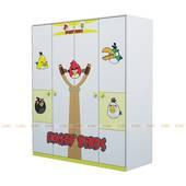 Tủ quần áo 4 cánh hình Angry Bird 1m6