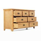 Tủ 7 ngăn kéo ngang Rustic gỗ sồi