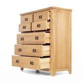 Tủ 7 ngăn kéo đứng Rustic gỗ sồi