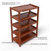 Kệ dép 5 tầng IB563 gỗ cao su màu cánh gián