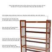 Kệ sách 4 tầng HB490 gỗ cao su màu cánh gián