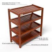 Kệ dép 4 tầng IB463 gỗ cao su màu cánh gián
