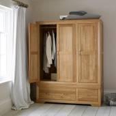 Tủ áo 3 cánh Bevel gỗ sồi