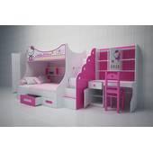 Bộ phòng ngủ giường tầng bé gái in hình Kitty