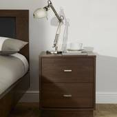 Tủ đầu giường 2 ngăn kéo Como gỗ óc chó