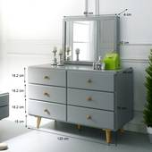 Tủ 6 ngăn kéo Rora - Grey
