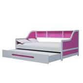 Giường tầng lùn trẻ em màu hồng đậm