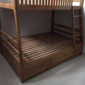 Giường tầng Rustic thang liền gỗ sồi 2