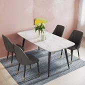 Bộ bàn ăn Celio 4 ghế da Fiore chân bọc ống mạ
