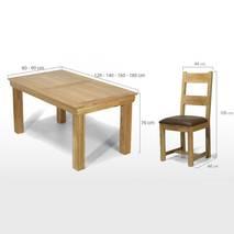 Kích thước bàn ghế Victoria gỗ sồi