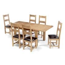 Bộ bàn ăn mở rộng 6 ghế Rustic gỗ sồi 2